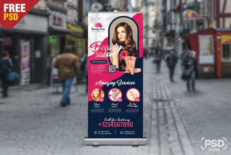 Beauty Salon Free Roll Up Banner