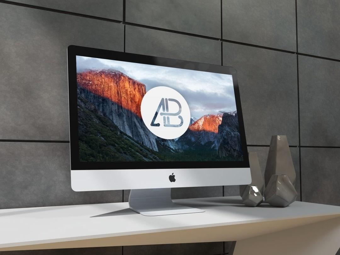 Realistic 5k iMac Free Mockup