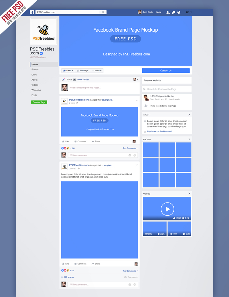 Facebook Free Mockup PSD Template