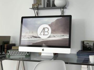 Realistic 5k iMac Free Mockup Vol.2