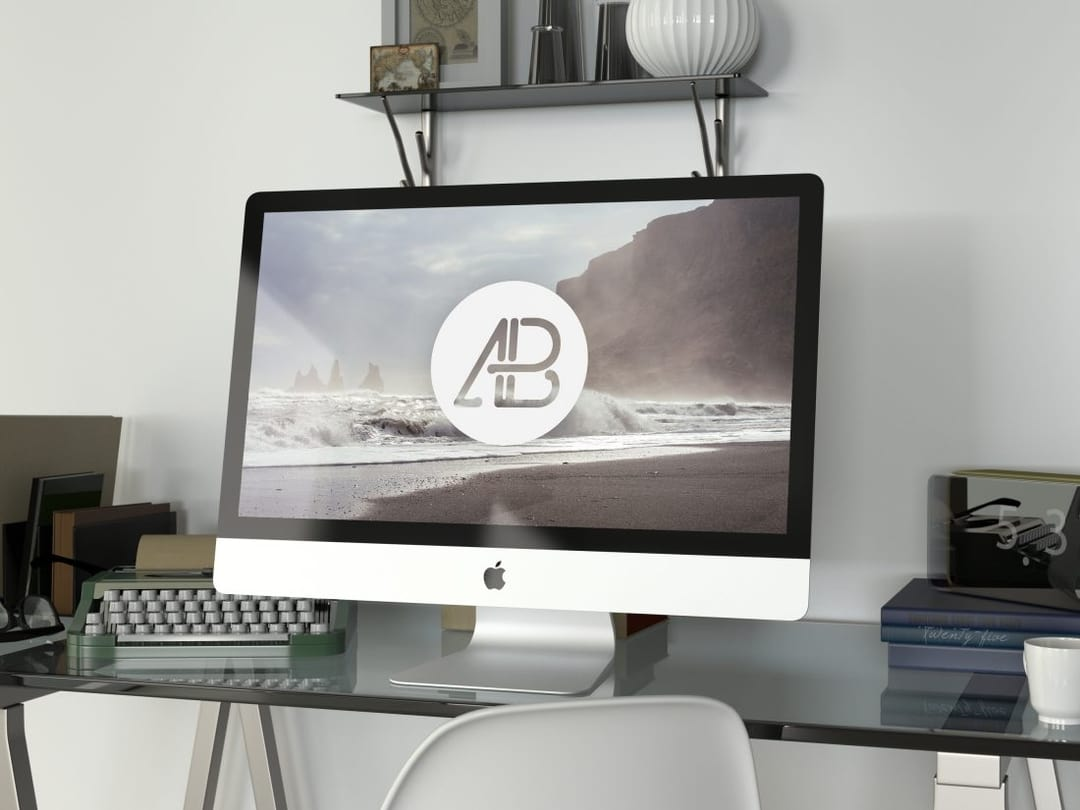 Realistic 5k iMac Free Mockup Vol 2