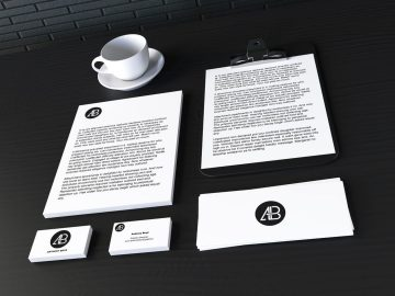 Realistic Stationary Branding & Identity Free Mockup