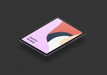 iPad Pro Isometric Design - Free Mockup