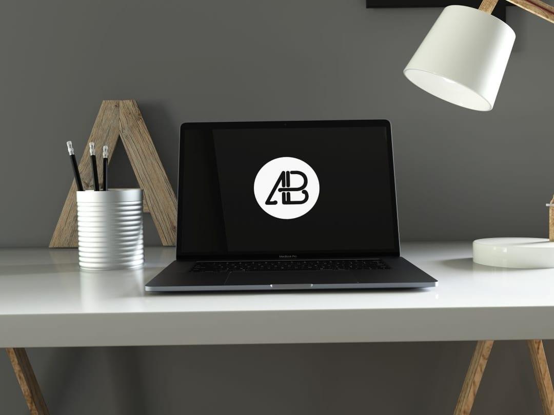 Realistic Space Gray Macbook Pro Free Mockup