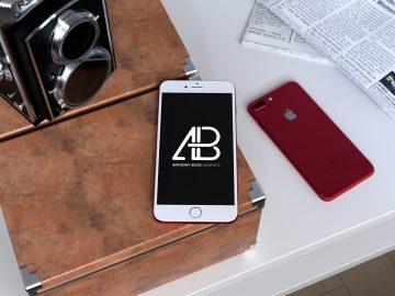 Red iPhone 7 Plus - Free Mockup Vol.2