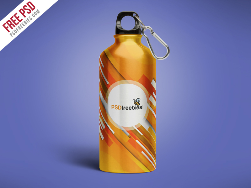 Aluminum Water Bottle Free Mockup
