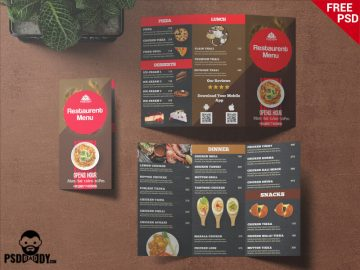 Free Restaurant Trifold Menu Card