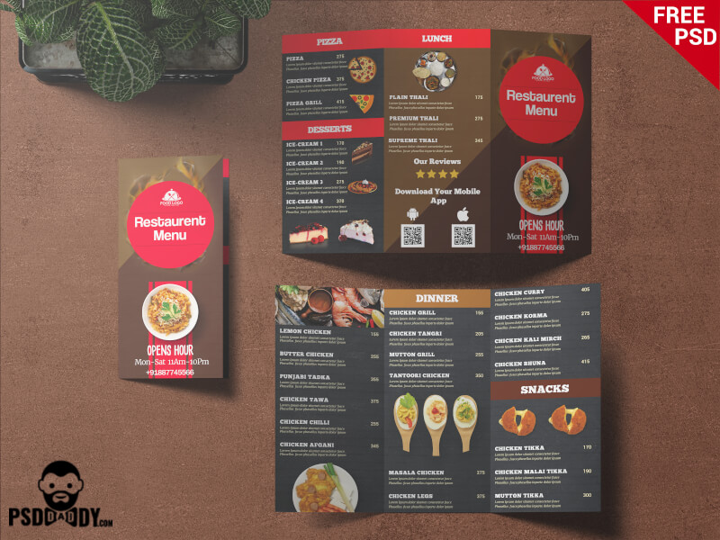 Free Restaurant Trifold Menu Card