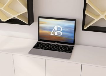 Realistic 12-Inch Macbook - Free Mockup