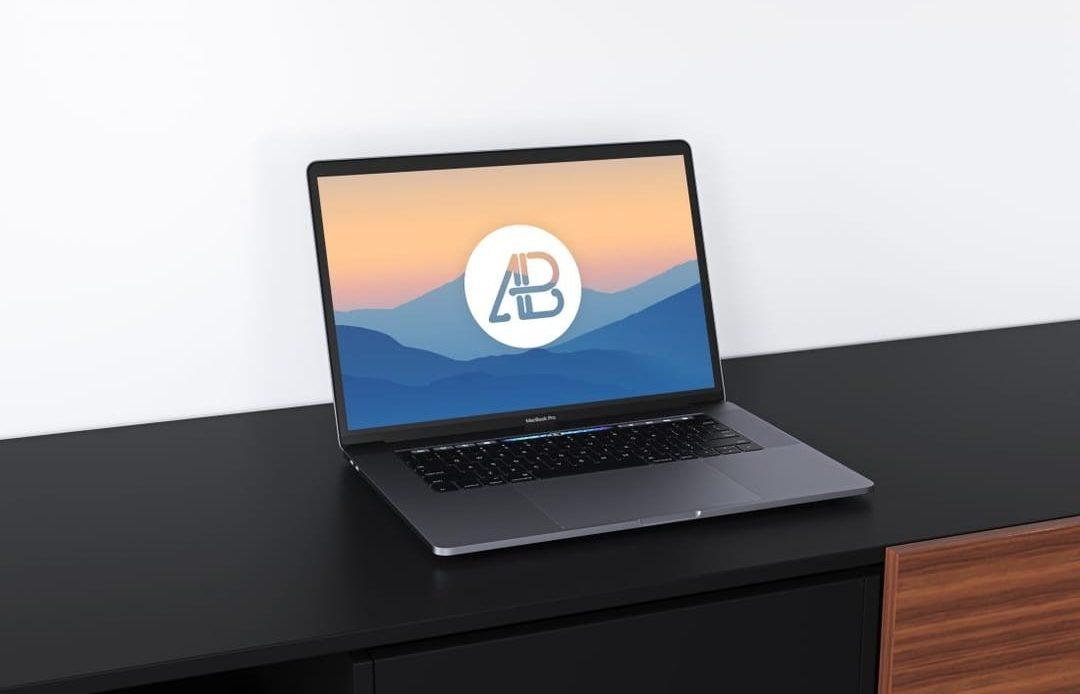 Realistic Space Grey MacBook Pro Free Mockup Vol.2