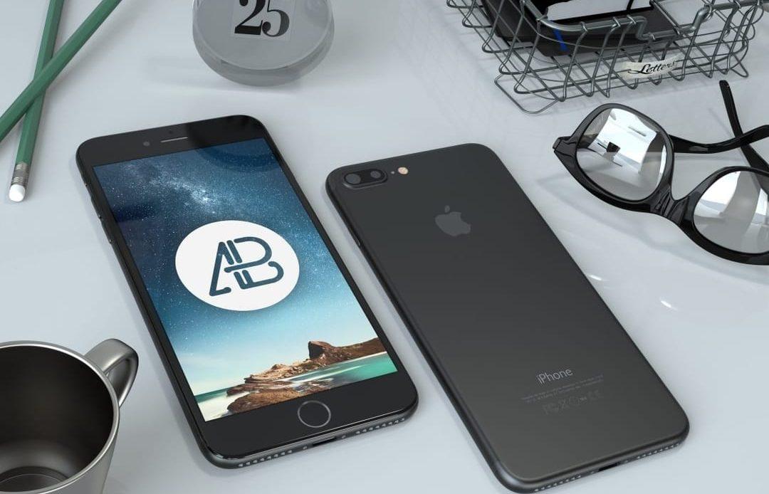 Realistic Black iPhone 7 Plus Free Mockup