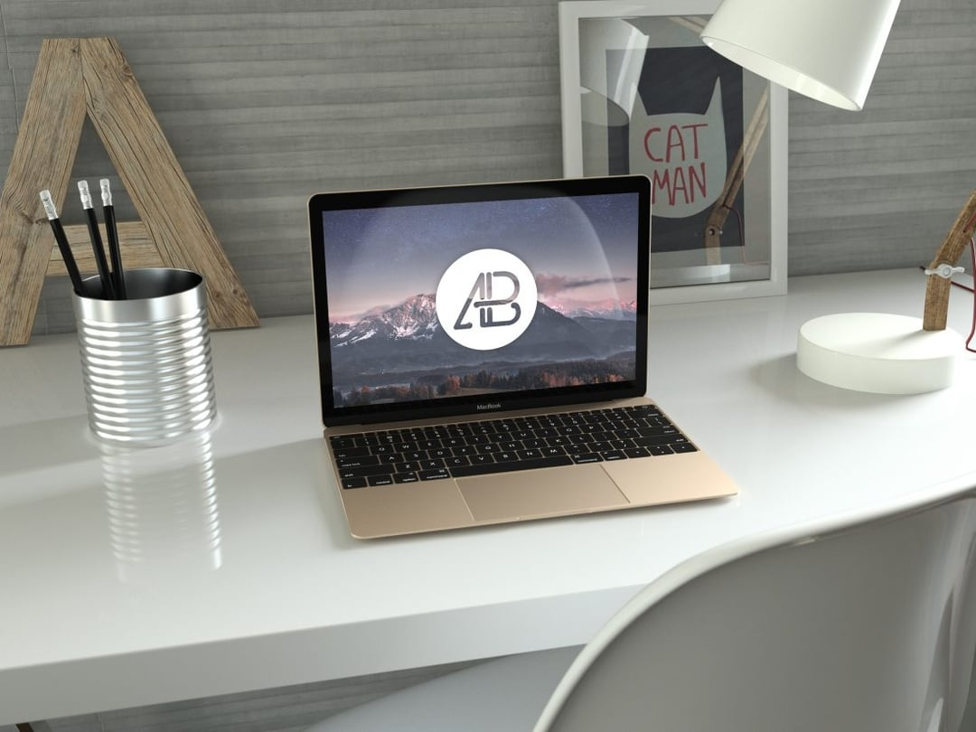 Realistic Gold 12-Inch Macbook Free Mockup