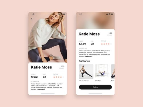 Trainer Profile App Free UI Design