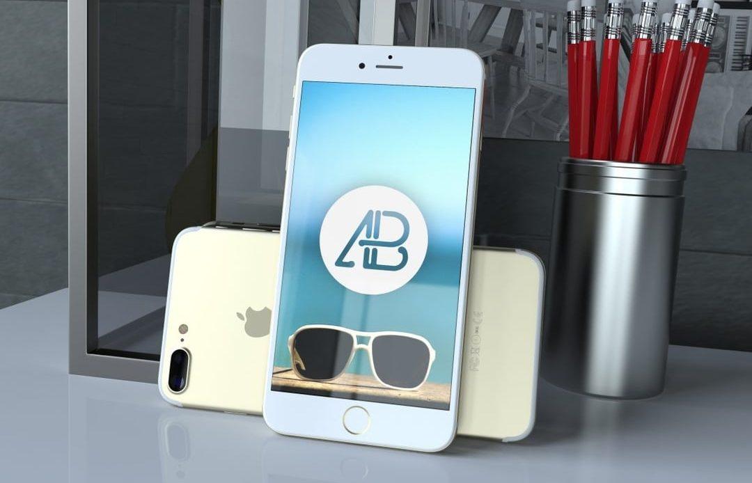 Realistic Gold iPhone 7 Plus Free Mockup