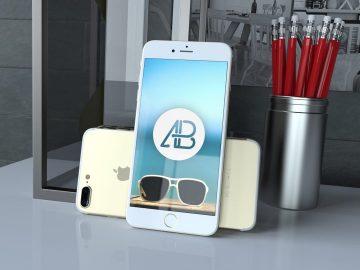 Realistic Gold iPhone 7 Plus - Free Mockup