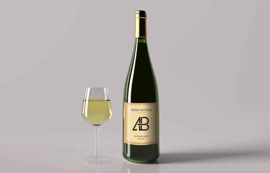 Realistic Wine Bottle Free Mockup Vol.2