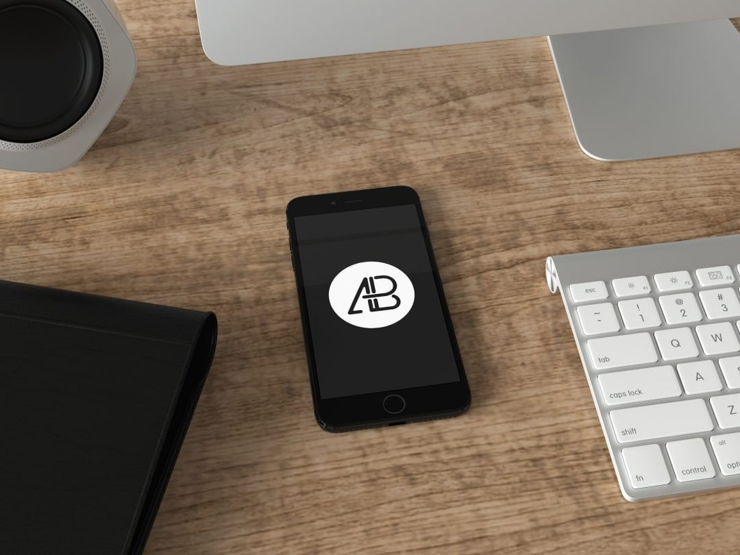 Realistic Jet Black iPhone 7 Plus Free Mockup Vol.4