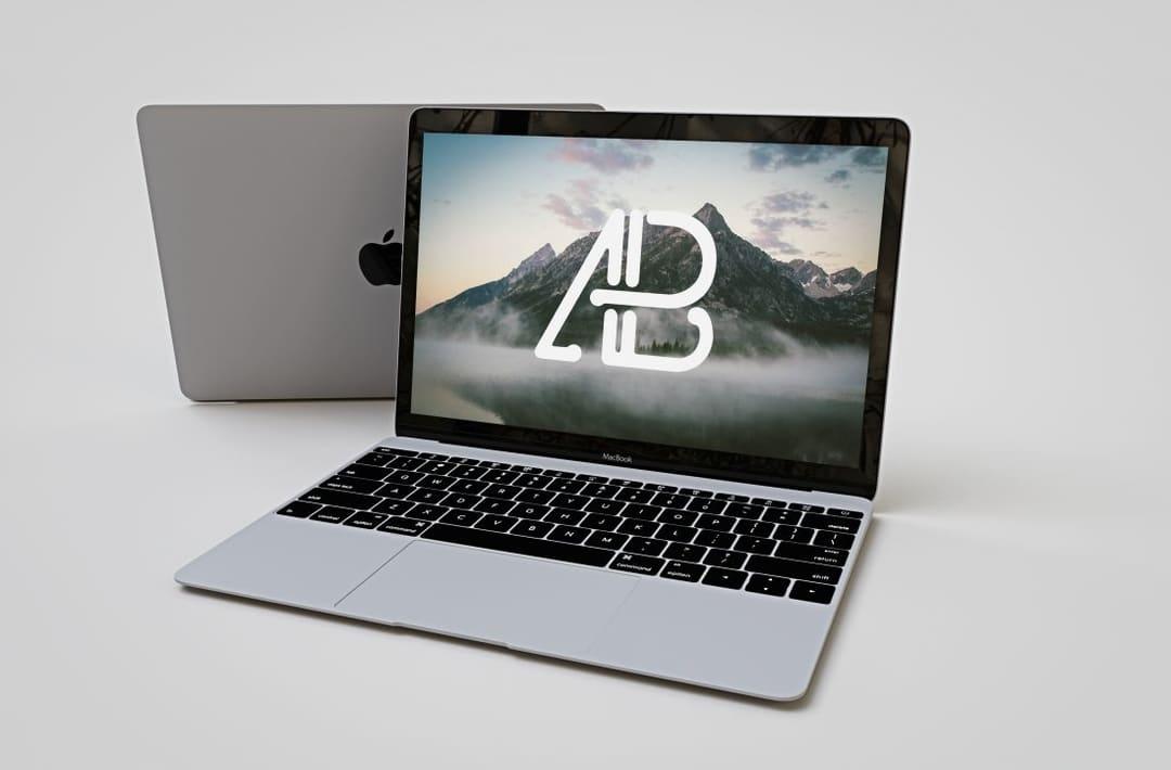 Realistic Apple Macbook Free Mockup