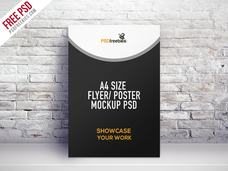 A4 Size Flyer Poster Free Mockup