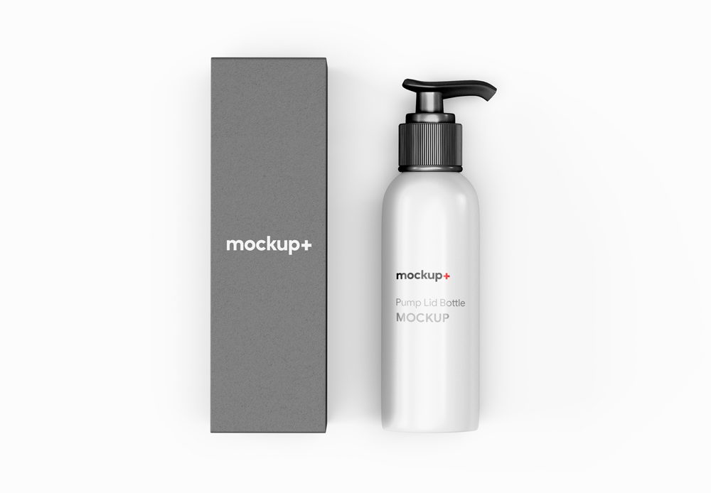 Pump Lid Bottle with Packaging Free Mockup