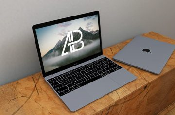 Free Realistic Space Grey Macbook Mockup