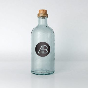 Realistic Glass Bottle - Free Mockup