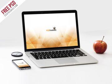 MacBook Pro and phone Free Mockup