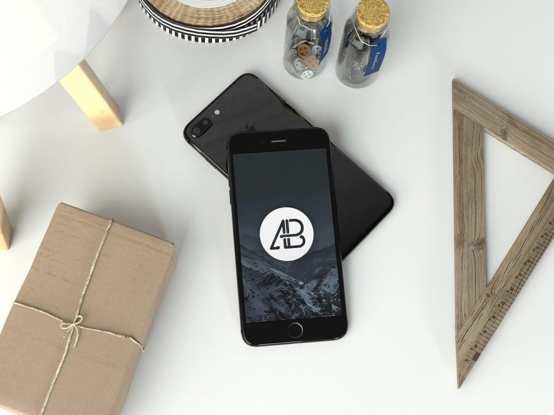 Realistic Jet Black iPhone 7 Plus Free Mockup