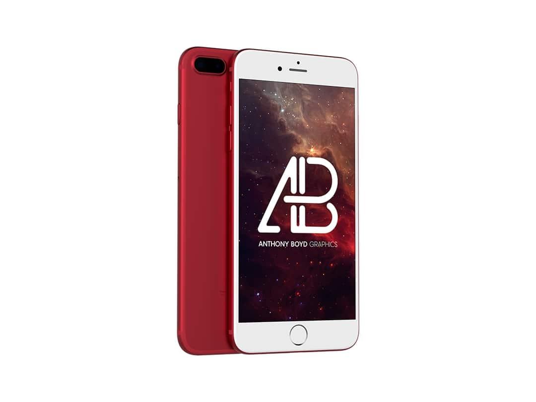 Red iPhone 7 Plus Free Mockup