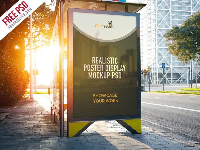 Realistic Poster Display Free Mockup