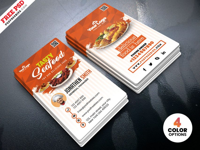 Fast Food Restaurant Free Business Card