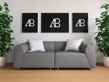 Triple Poster In Living Room - Free Mockup