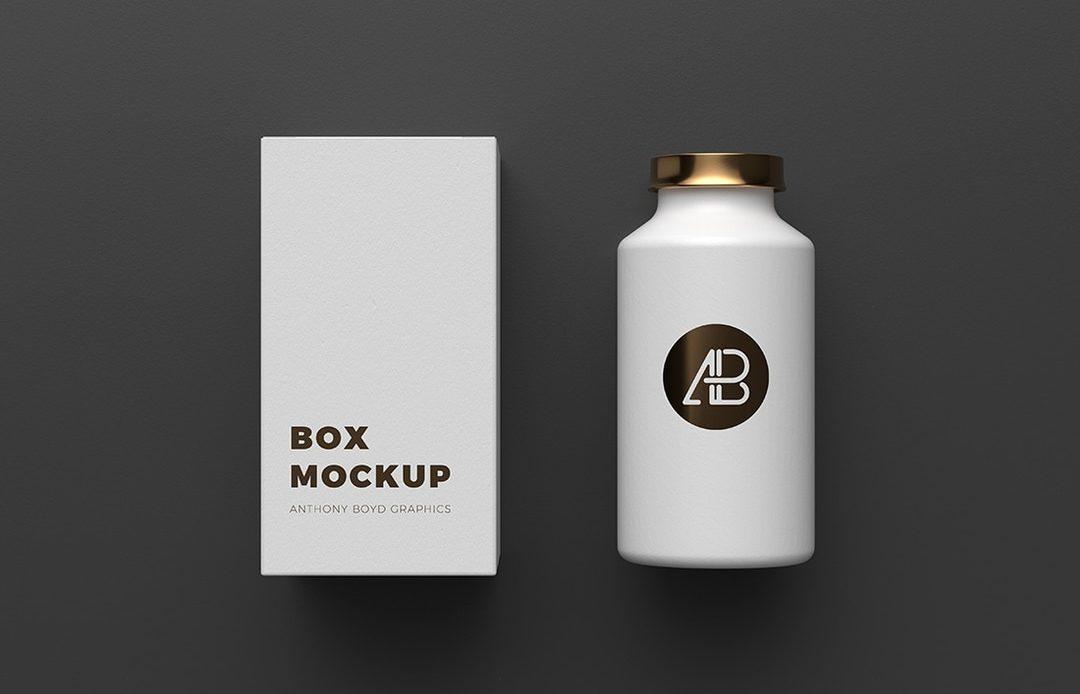 Free Copper Foil Bottle Packaging Mockup