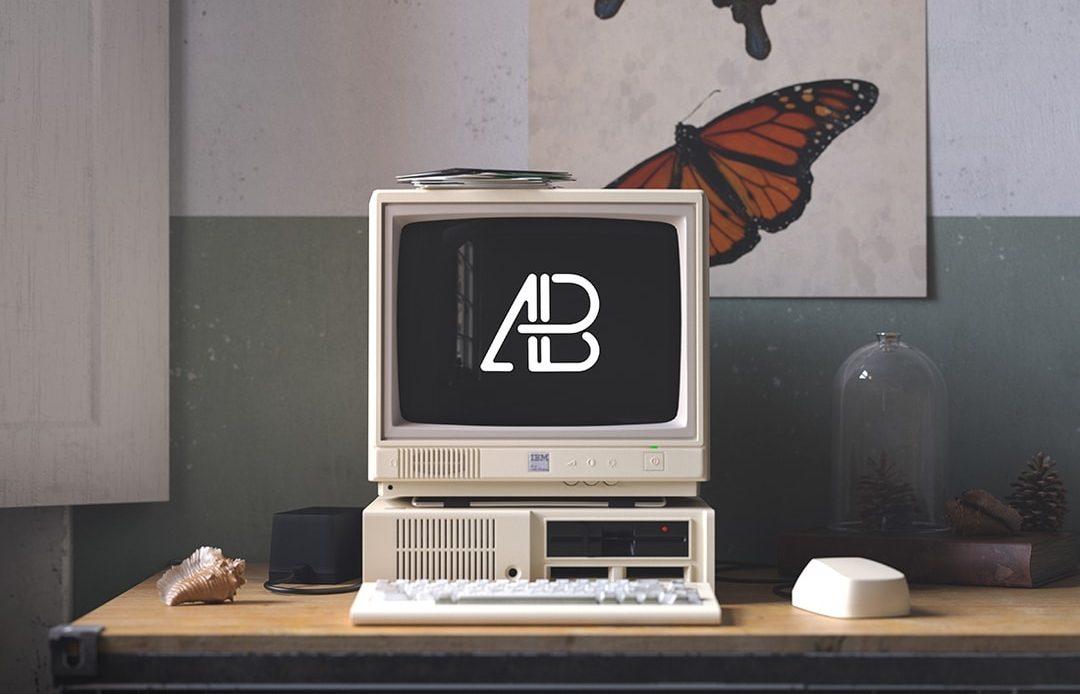 Retro IBM Desktop Free Mockup
