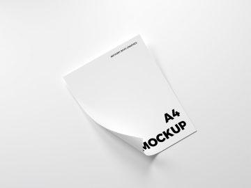 Free Folded A4 Paper Mockup
