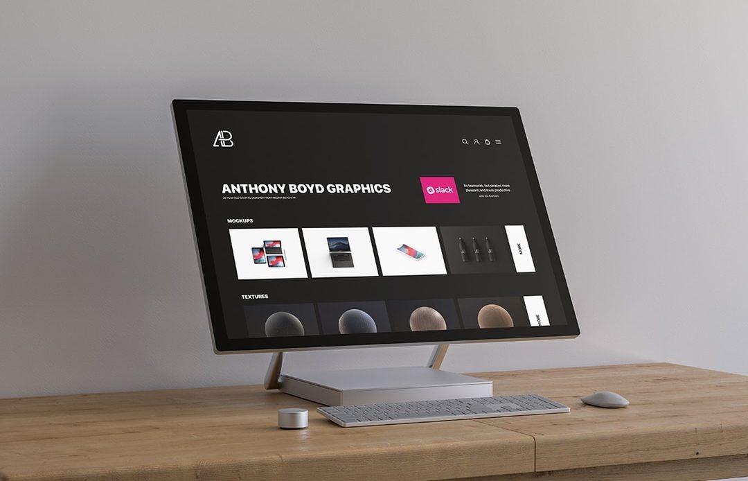 Surface Studio On Table Free Mockup