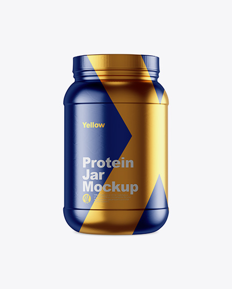 Free 2lb Protein Jar in Metallic Shrink Sleeve Mockup