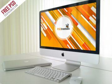 Office iMac Workstation - Free Mockup