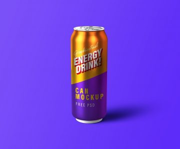 Free Energy Drink Can PSD Mockup