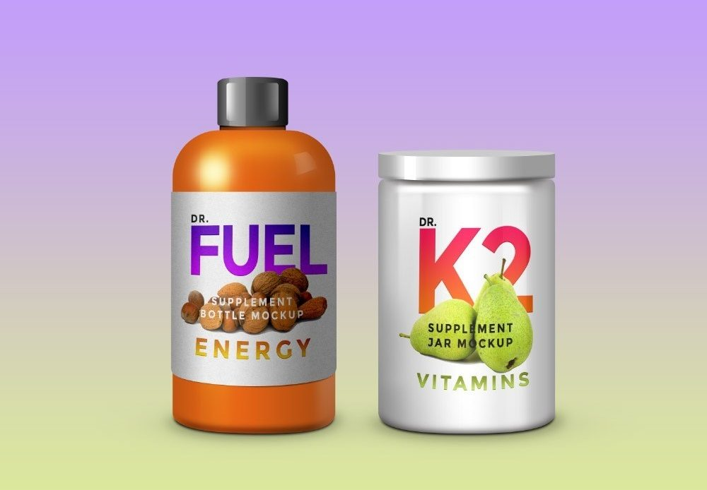 Free Supplement Product Packaging Mockup