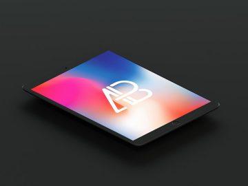 Isometric Matte Black iPad Pro 10.5 Free Mockup