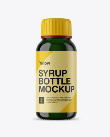 Free Green Glass Syrup Bottle Mockup