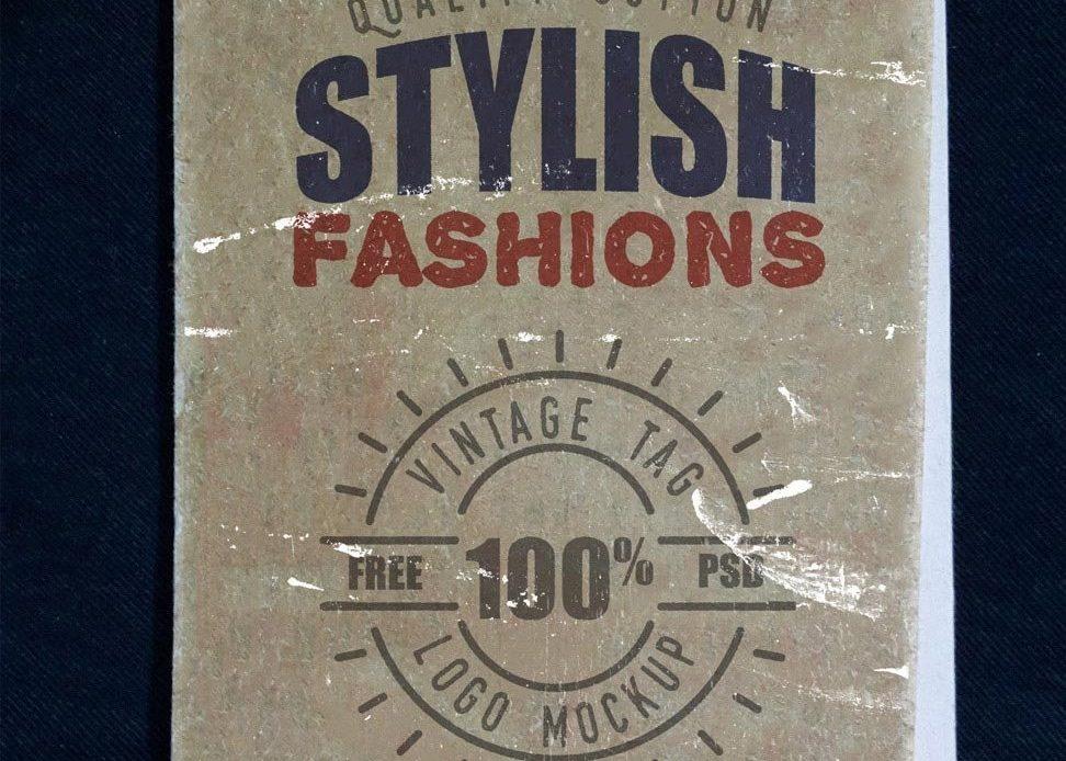 Free Vintage Clothing Label Mockup