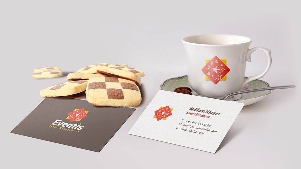 Free Business Card And Coffee Cup Scene Mockup