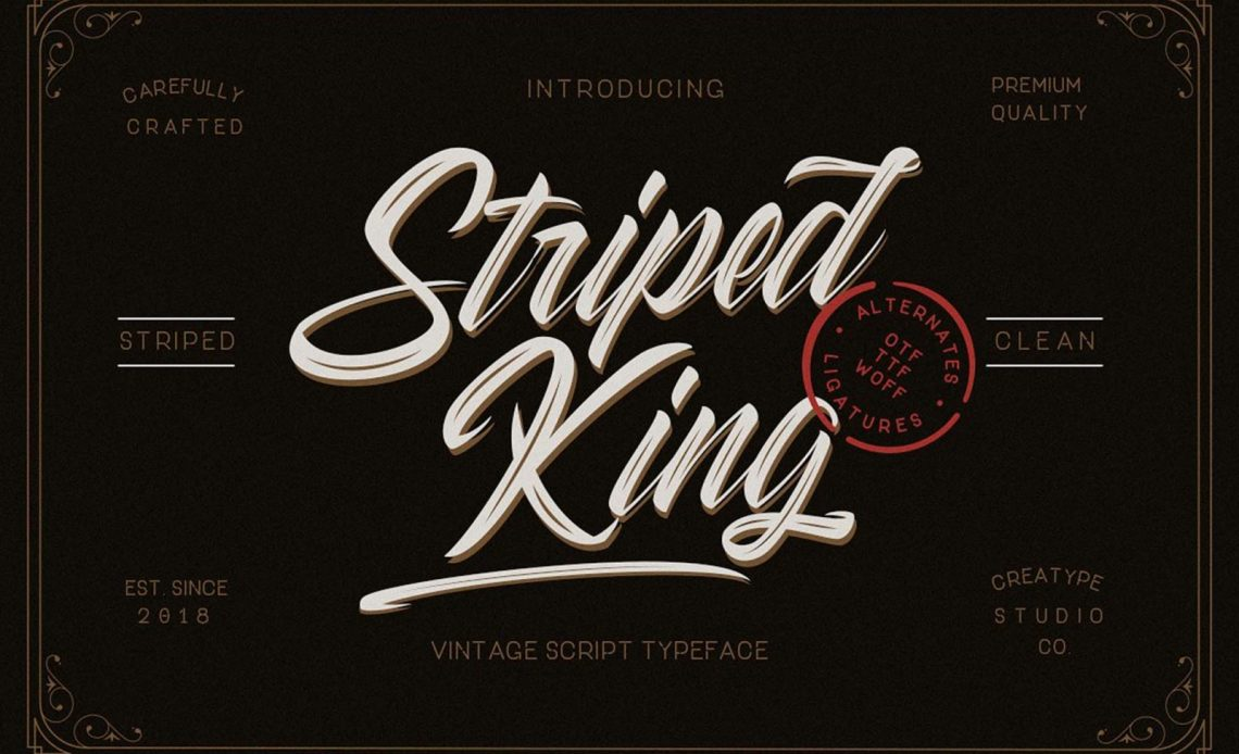 Striped King Hand-lettering Free Script Font