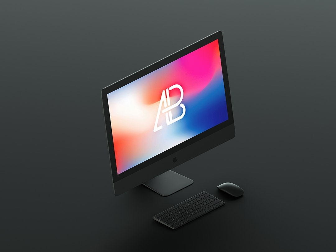 Isometric Matte Black iMac Pro Free Mockup