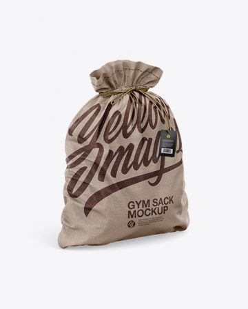 Free Textured Gym Sack w/ Label Mockup