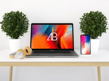 Free Modern iPhone X and Macbook Pro Mockup