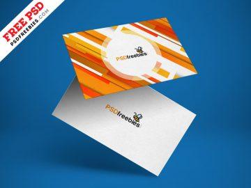 Free Floating Business Card Mockup