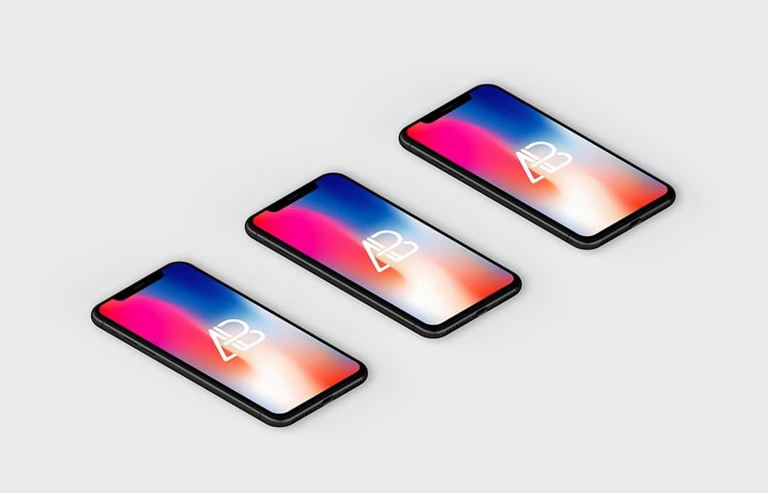 Isometric iPhone X Free Mockup